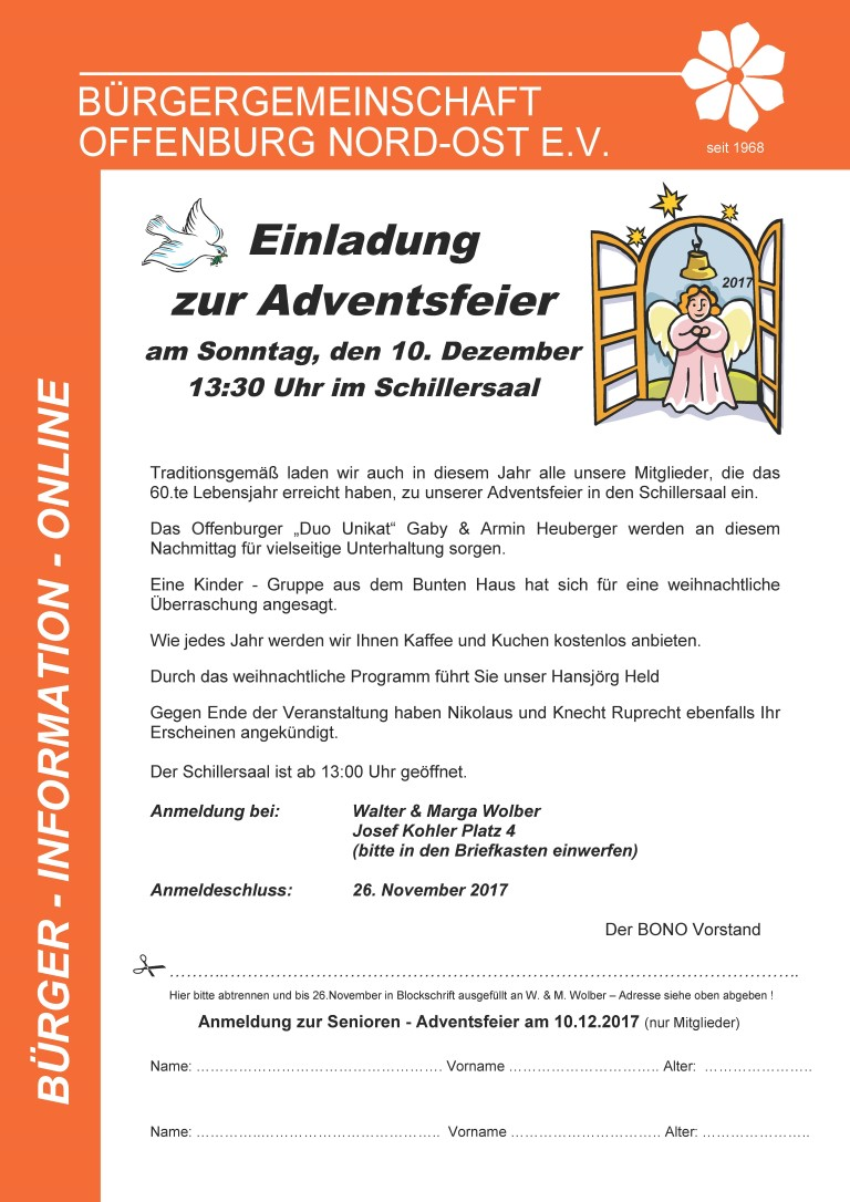 Adventsfeier Senioren Online 2017